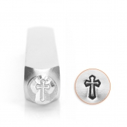 ImpressArt design stamps cross outline 6mm Silver