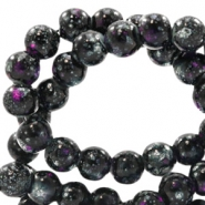 4 mm glass beads stone look Black-Purple White