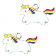 Metal charms unicorn Silver-White