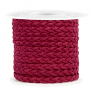 Trendy flat cord braided suede style 5mm Port Red
