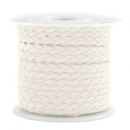 Trendy flat cord braided suede style 5mm Off White