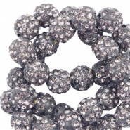 Rhinestone beads 10mm Anthracite Grey