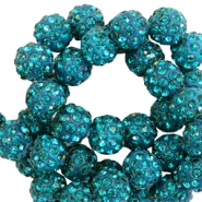 Rhinestone beads 10mm Petrol Green