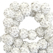 Rhinestone beads 8mm Silver White