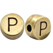 DQ European metal letter beads P Antique Bronze (nickel free)