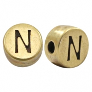 DQ European metal letter beads N Antique Bronze (nickel free)