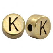 DQ European metal letter beads K Antique Bronze (nickel free)