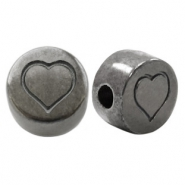 DQ European metal letter beads Heart Silver Anthracite (nickel free)