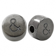 DQ European metal letter beads & Silver Anthracite (nickel free)