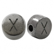 DQ European metal letter beads X Silver Anthracite (nickel free)