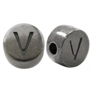 DQ European metal letter beads V Silver Anthracite (nickel free)