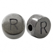 DQ European metal letter beads R Silver Anthracite (nickel free)