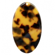 Resin pedants oval 50x29mm Cognac-Brown