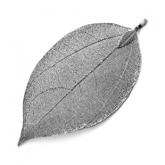 Charm with 1 loop metal leaf Antique Silver
