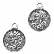 Metal charms religious coin 15mm Antique Silver