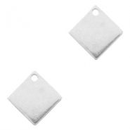 Designer Quality metal for ImpressArt charm square 10mm Antique Silver (nickel free)