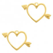 DQ European metal charms heart Gold (nickel free)