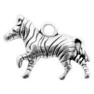 DQ European metal charms zebra Antique Silver (nickel free)