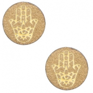 Wooden cabochon Hamsa hand 12mm Gold