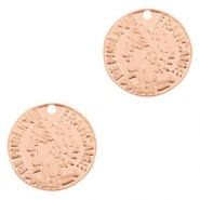 Bohemian charms coin 15mm Rose Gold