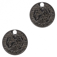 Bohemian charms coin 15mm Black