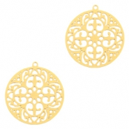 Bohemian charms round 20mm Gold