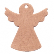 DQ European leather pendants angel Light cognac brown