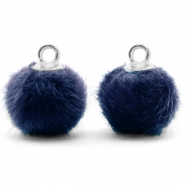 Pompom charms with loop faux fur 12mm Dark Blue-Silver