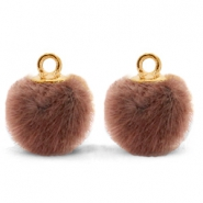 Pompom charms with loop faux fur 12mm Red Brown-Gold