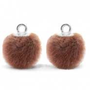 Pompom charms with loop faux fur 12mm Red Brown-Silver