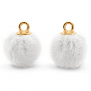 Pompom charms with loop faux fur 12mm White-Gold