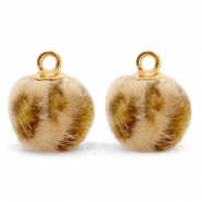 Pompom charms with loop faux fur leopard 12mm Camel Brown-Gold