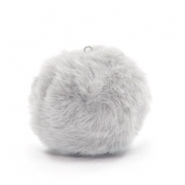 Pompom charms with loop  faux fur 3.5cm Light Grey