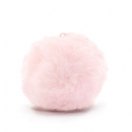Pompom charms with loop  faux fur 2.5cm Light Pink