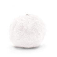 Pompom charms with loop  faux fur 3.5cm White