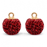 Pompom charms with loop glitter 12mm Dark Red-Gold