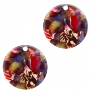 Resin pendants round 19mm Mixed Red-Yellow