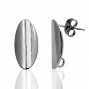 DQ European metal findings earpin oval 9x18mm Silver Anthracite (nickel free)