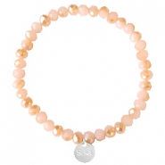 Sisa top faceted bracelets 6x4mm (stainless steel charm) Ginger Pink-Pearl Shine Coating