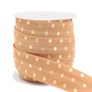Elastic ribbon dots Camel Brown