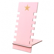 Jewellery display wood star Pink