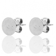 DQ European metal findings earpin round 6mm Antique Silver (nickel free)