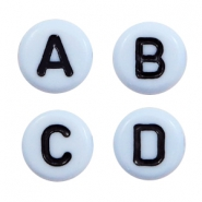 Acrylic letter beads mix Blue-Black