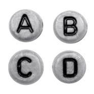 Acrylic letter beads mix Silver Dark Grey-Black