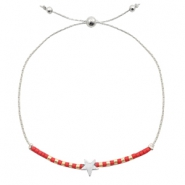 Ready-made bracelets with star Red-Silver