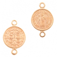 DQ European metal charms connector Jesus 12mm Rose Gold (nickel free)