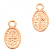 DQ European metal charms Jesus oval 8x11mm Rose Gold (nickel free)