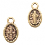 DQ European metal charms Jesus oval 8x11mm Antique Bronze (nickel free)