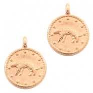 DQ European metal charms leopard round 12mm Rose Gold (nickel free)