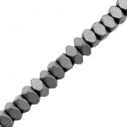 Hematite beads faceted disc mat Anthracite Grey